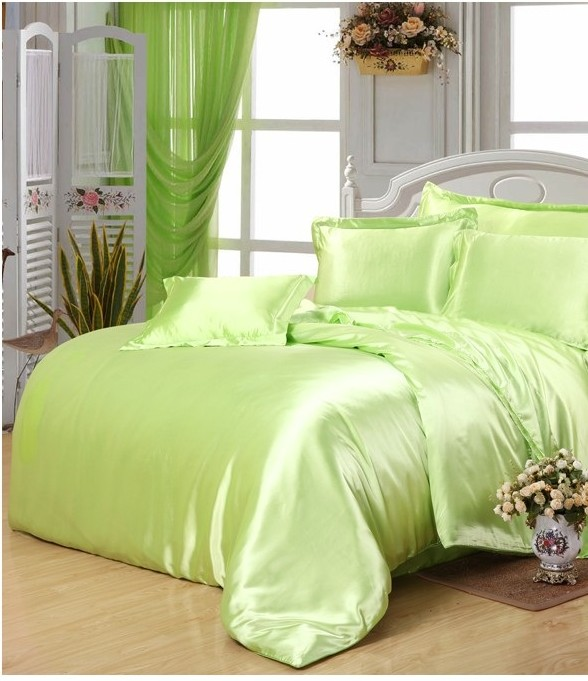 Yellow Green Satin Silk Bedding Set Super King Size Queen