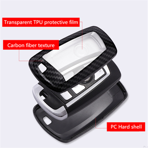 Image 4 - Auto Styling Koolstofvezel + Pc Key Cover Shell Case Voor Bmw New1 3 4 5 6 7Serie f10 F20 F30 Smart 3/4 Knoppen Accessoires Sleutelhanger
