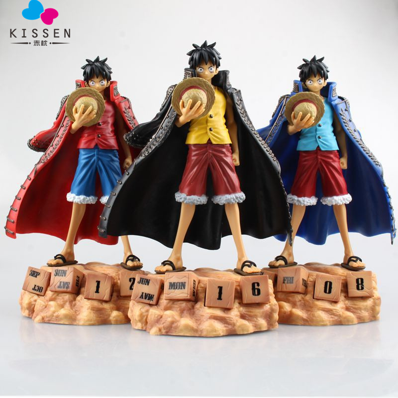 Kissen Japan Anime One Piece Monkey D Luffy Figure Calendar Style PVC Action Figure Model Doll Toy Christmas Gifts 20 CM japan anime one piece the straw hat piratespop2 0 monkey d luffy pvc action figure collectible model toy 24cm