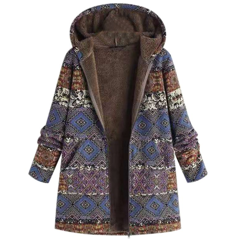 2019 Women Winter Hooded Coats 5XL Casual Plus Size Loose Ethnic Cotton Boho Thick Fashion Warm   Parkas   Jackets Overcoats