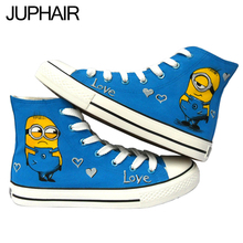 JUP Cartoon Hand Painted Canvas Shoes Mens Males Boys Girl Anime Despicable Me Minions Spongebob Flat Shoes Female Footwear Boys