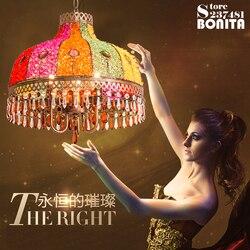 Bohema wiszące światła sypialnia azja południowo-wschodnia droplight żelaza szklana lampa kryształowe lampy wiszące dla restauracji