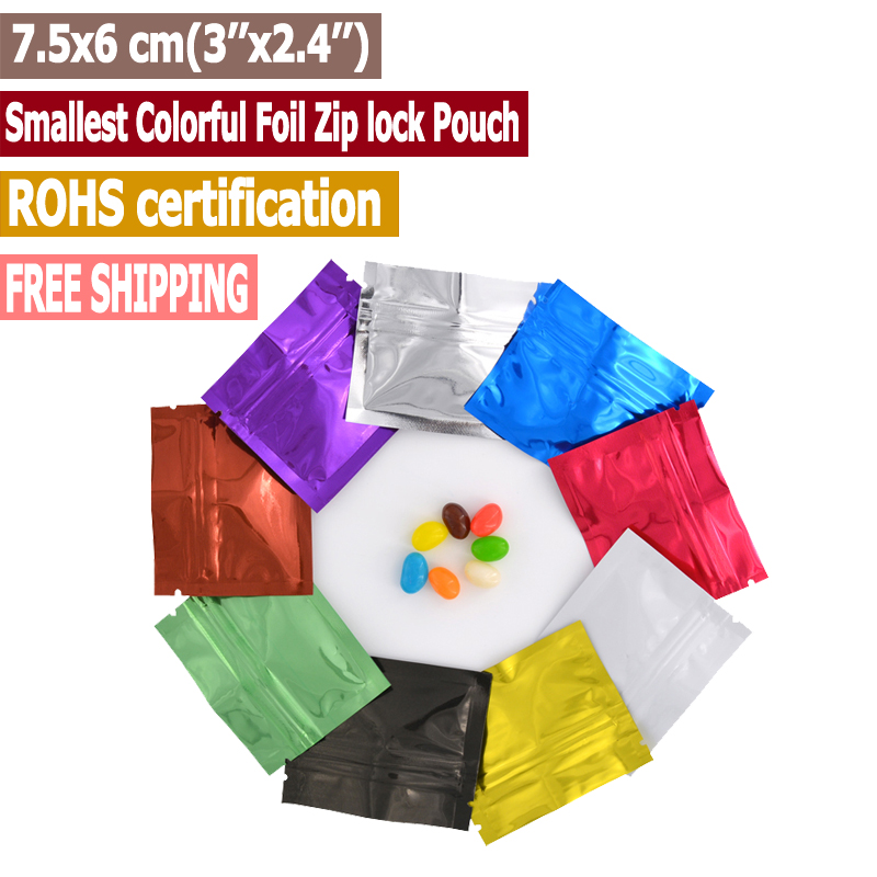100 pcs 7.5x6 cm (3''x2.4'') Colorful Smallest Foil Zip lock Pouches,Pill Zip lo