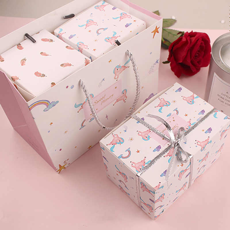 Cute Unicorn Candy Cookies Packaging Gift Paper Bag Creative Unicorn Sticker Plastic Bag Festival Party Cake Baking Gift Boxes