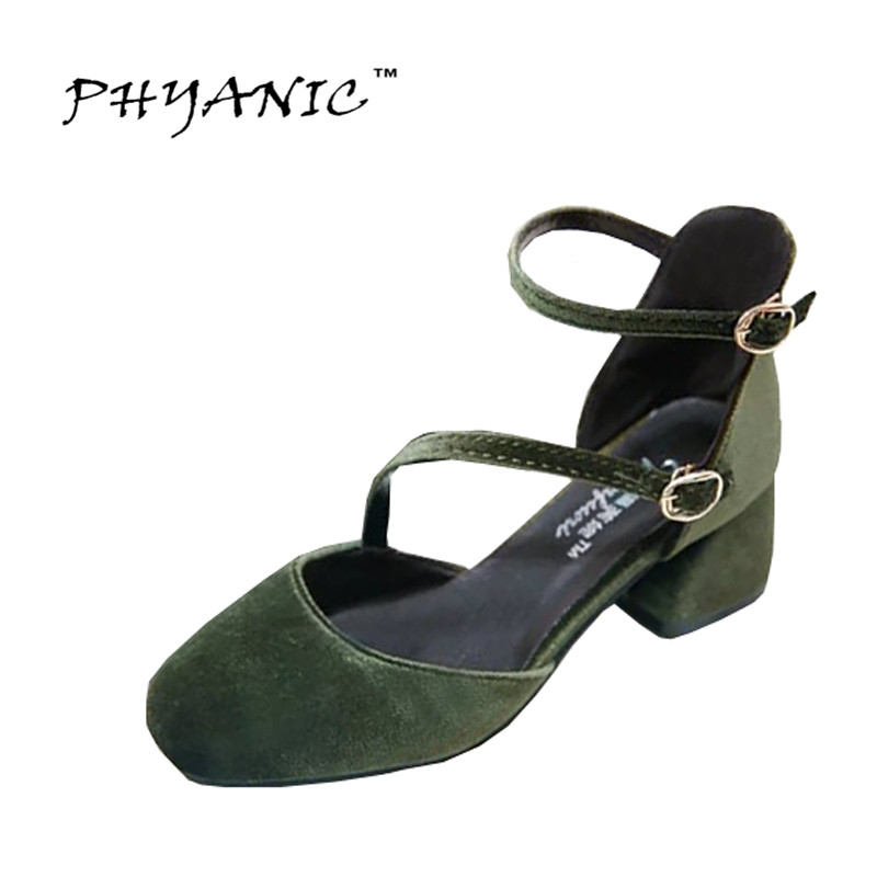 PHYANIC Velvet Gladiator Sandals Platform Elegant High Heels 2017 Casual Shoes Woman Low Heels Sexy Slip On Pumps PHY5031 phyanic crystal shoes woman 2017 bling gladiator sandals casual creepers slip on flats beach platform women shoes phy4041