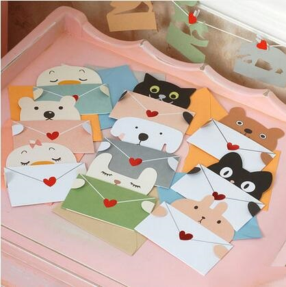 6201 9pcs/lot Cartoon animal envelope message card thank card baby birthday greeting card  Universal sheet kids gift 30pcs in one postcard take a walk on the go dubai arab emirates christmas postcards greeting birthday message cards 10 2x14 2cm