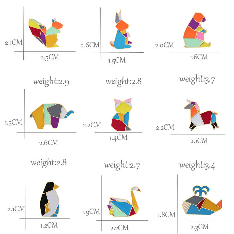 Origami Baru Kelinci Rubah Kucing Kuda Swan Whale Bear Tupai Penguin Gajah Enamel Pin Logam Hewan Bros Denim Kerah Tas lencana