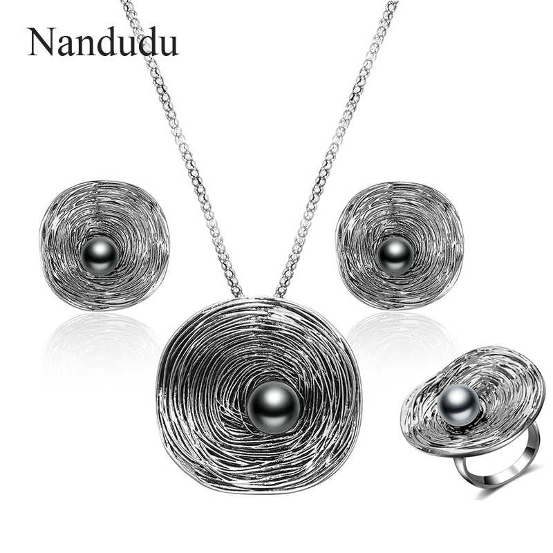 Nandudu Vintage Retro Round Big Pendant with Pearl Grey Color Antique Necklace Earrings Ring Jewelry Sets for Women Lady Gift