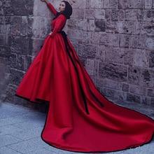 2017 Arabic Muslim Hijab Evening Dresses Long Sleeve Burgundy and Black Formal Evening Dress Long Turkish Evening Gowns Cheap
