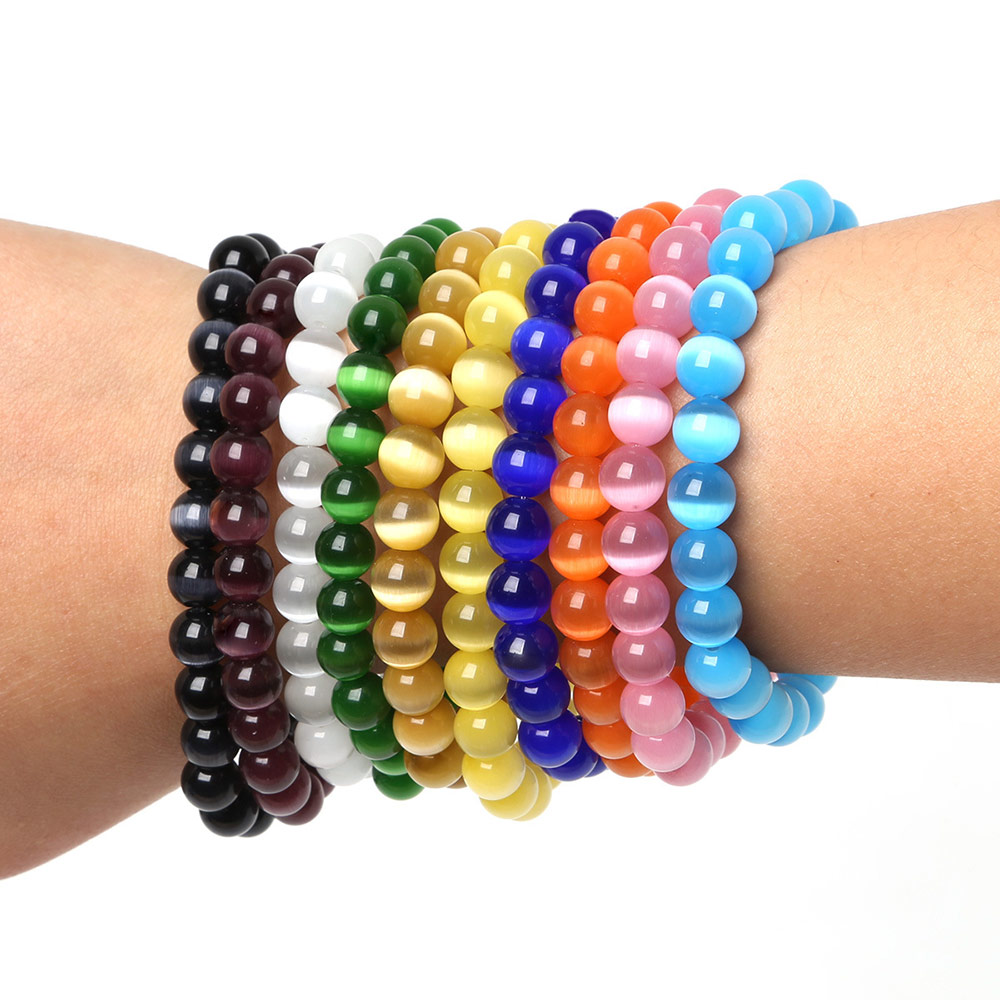 Jewelry & Accessories Strand Bracelets Hot Sale Punk Simple Circle Beaded Wristband Bracelet Cats Eye Opal Bracelets Bangles 6/8/10mm Round Stones Bracelet Women Men Long Performance Life