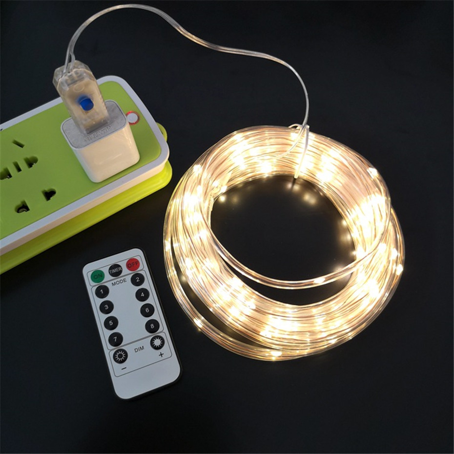 Image 3 - LED Tube Strip lights 8 Play Modes Remote Control USB Garland Outdoor Indoor DIY Decoration Christmas Wedding Garden Tree Lights-in Holiday Lighting from Lights & Lighting on
