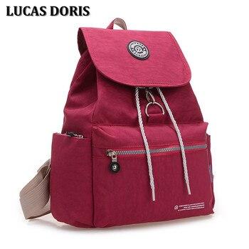 Women school backpack pretty style waterproof nylon school bags for teenagers girls schoolbags solid college student book bags grande bolsas femininas de couro