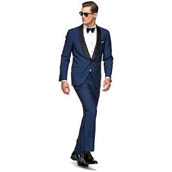 Custom Made New Arrival Groom Tuxedos BlueGroomsmen Shawl Satin Black Lapel Men Wedding Suits Best Mens Suit (Jacket+Pants)