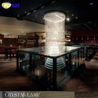ART K9 Crystal Chandelier Villa Hotel Project Crystal Droplight Lustre Rectangle Chandelier  Hanging Lamp Spiral Crystal Lightin
