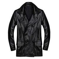 2018 черный для мужчин двубортный повседневное кожаная куртка плюс размеры XXXXL из натуральной яловой кожи русский Весна кожаные пальт