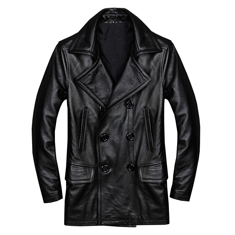 Genuine Leather Coats 2018 High Quality Mans Genuine Cowhide Leather Overcoat Double Breasted Males Casual Jacket Black Plus Size Xxxxl 2xl 3xl 4xl Men's Clothing