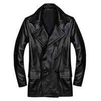 2019 schwarz Männer Zweireiher Casual Leder Jacke Plus Größe XXXXL Echtem Rinds Russische Frühling Leder Mantel FREIES VERSCHIFFEN