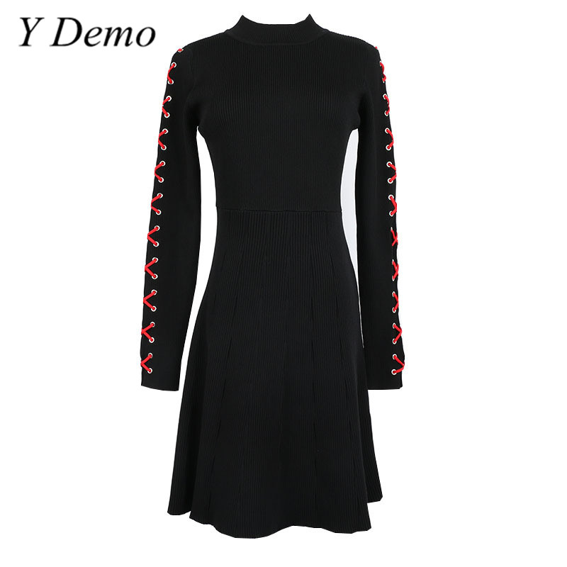 Y Demo O-neck Womens Knitted Dress Sleeve Drawstring High Waist Female Sweater Dress