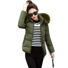 Warm Winter Jacket Female 2018 Fashion Women Hooded Fur collar Down Cotton Coat Solid color Slim Large size Female Coat стоимость