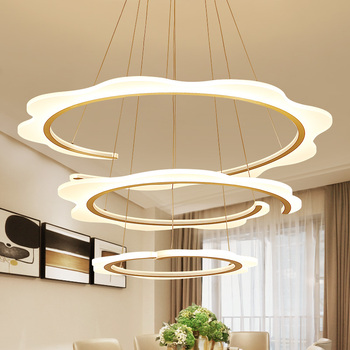 Modern Remote Control Dimmable Led Pendant Light Dining Room DIY Irregular Circle Pendant Light Lustre Hanging Lamp Suspend Lamp