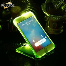 KISSCASE Glowing Smart LED Flash Light Phone Case For iPhone 5 5S SE 6 7 Soft Shockproof Cover For iPhone 7 6s 6 Plus Capa Coque