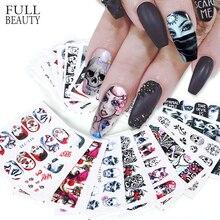 24 piezas Cool Halloween Sliders pegatinas de Arte de uñas DIY agua tatuajes temporales payaso calavera diseños para calcomanías de manicura CHSTZ731 755