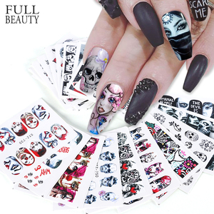 Image 1 - 24pcs Cool Halloween Sliders Nail Art Stickers DIY Water Temporary Tattoos Clown Skull Designs for Manicure Decals CHSTZ731 755