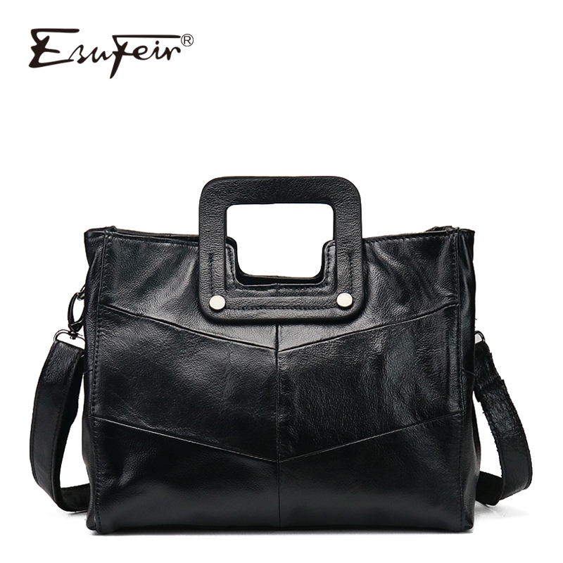 цена на ESUFEIR Brand Genuine Leather Women Handbag Leather Top-handle Casual Tote Luxury Shoulder Bag Women Bags Designer Messenger Bag