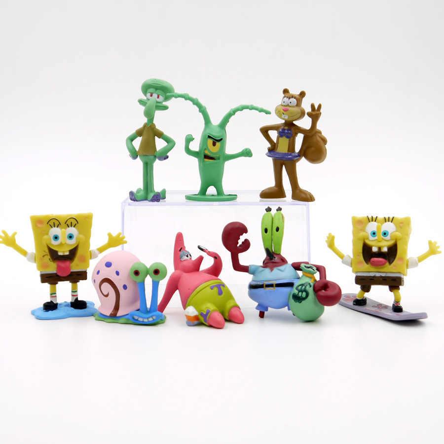 10 estilos Kawaii Patrick Estrela Bob Esponja Modelo Mão Para Fazer Figura de Ação Brinquedos Boneca Bob Esponja Brinquedos Clássicos Boneca de Vinil para o Presente Do Miúdo
