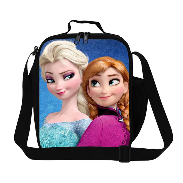 Dispalang 3d lindo de la historieta de impresión anna elsa almuerzo bolsos más frescos para niñas térmica almuerzo llevar caja de alimentos bolsa de comida de almacenamiento para las mujeres