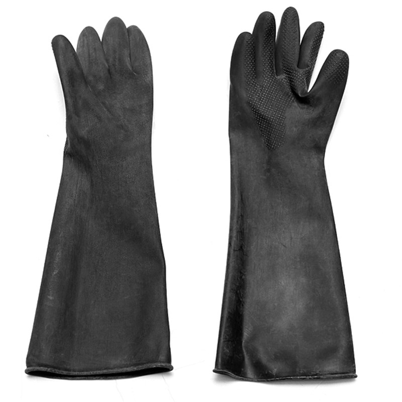 5 Pair Emulsion Chemical Resistance Industry Elbow Long Rubber Gloves Acid Chemical Midoni Security Safely Black anti acid and alkali chemical corrosion fisheries agriculture latex rubber gloves labor supplies black