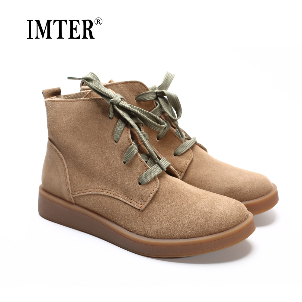 Shoes Woman Ankle Boots 100 Genuine Leather Women s Boots Round toe lace up Boots Female