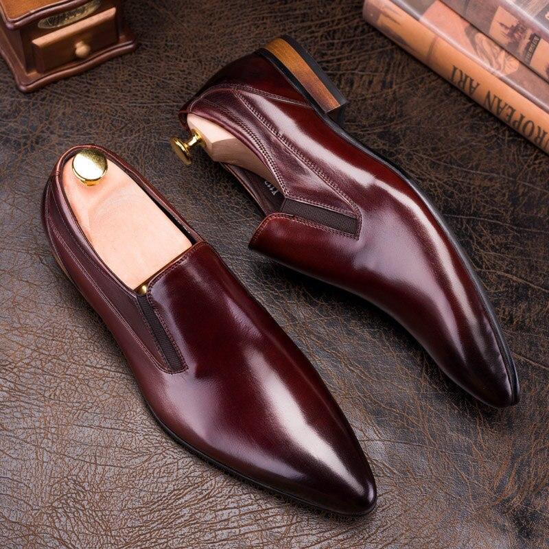 PJCMGแฟชั่นใหม่ที่สะดวกสบายสีดำ/สีแดงหนังแท้วงยืดหยุ่นชี้เท้าแบนลำลองผู้ชายคลาสสิกรองเท้าสุภาพบุรุษ-ใน รองเท้าทางการ จาก รองเท้า บน   3
