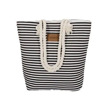 Girl Casual Summer Canvas Shopper Shoulder Bag Striped Beach Bags Large Capacity Tote Women Ladies Casual Shopping Handbag Bolsa