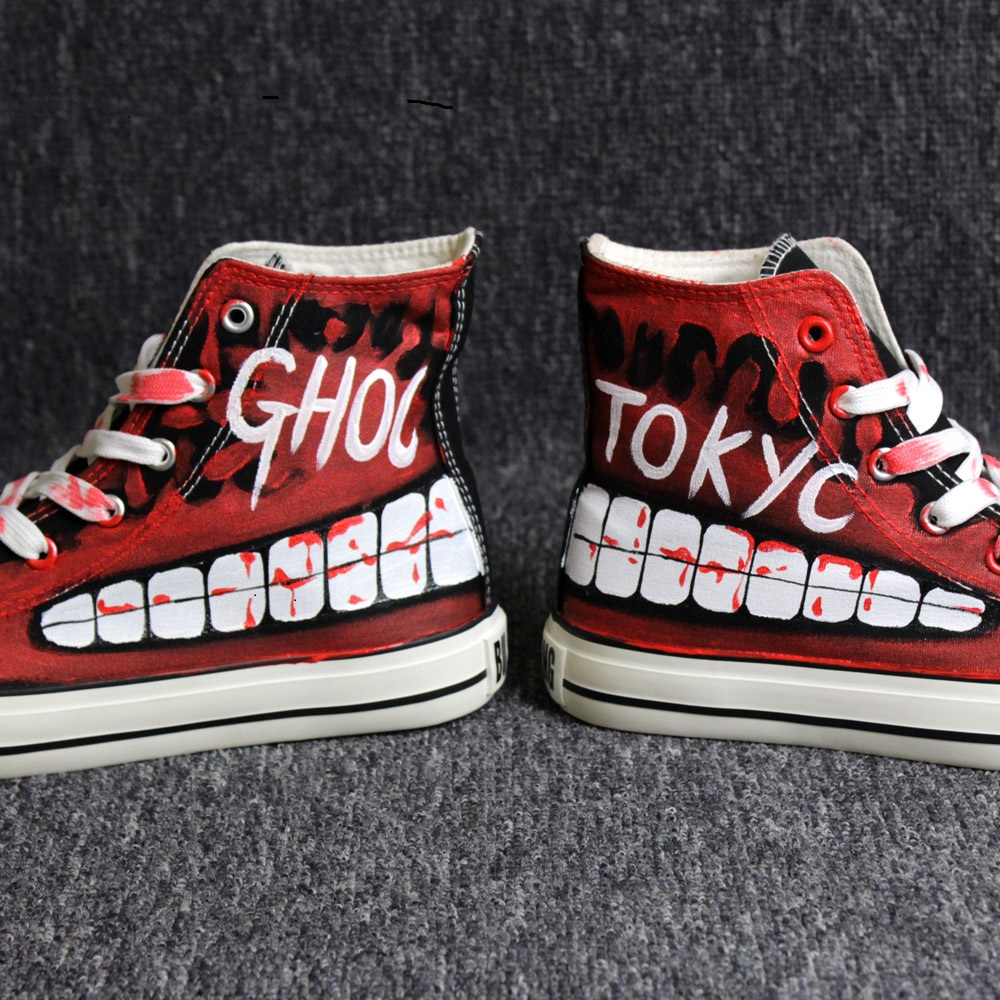 High-Q Unisex Anime Cos Tokyo Ghoul Kaneki Ken Punk Rock Rap Casual plimsolls canvas shoes rope soled shoes