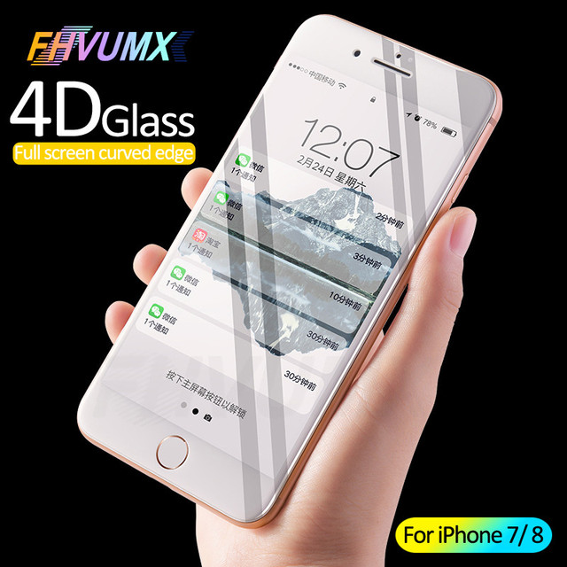 Protective Glass on the For Apple iPhone 6 S 6s 7 8 Plus Tempered Screen Protector 4D Curved Edge Glass For iPhone 7 8 Film Case