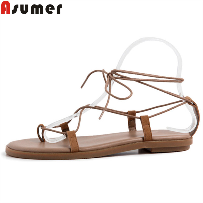 ASUMER Ladies Shoes Ankle-Strap Cross-Tied Sandals-Size Sanadls Flat Casual Women New
