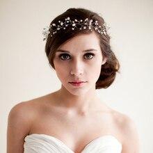 2017 Nova Handmade Acessórios de Moda Hairband Acessório de Cabelo Noiva Estética Casado Casamento Grampos De Cabelo De Noiva 21 cm-50 cm O201