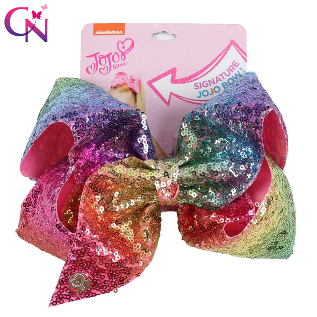 "8"" Large Sequin JoJo Si Bow With Hair Clip For Girl Kids Handmade Bling Jumbo Rainbow Knot Hair Bow Hairgrips Hair Accessories 1"