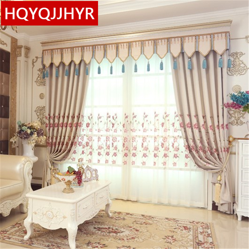 Beige european style embroidered blackout curtain for - European style curtains for living room ...