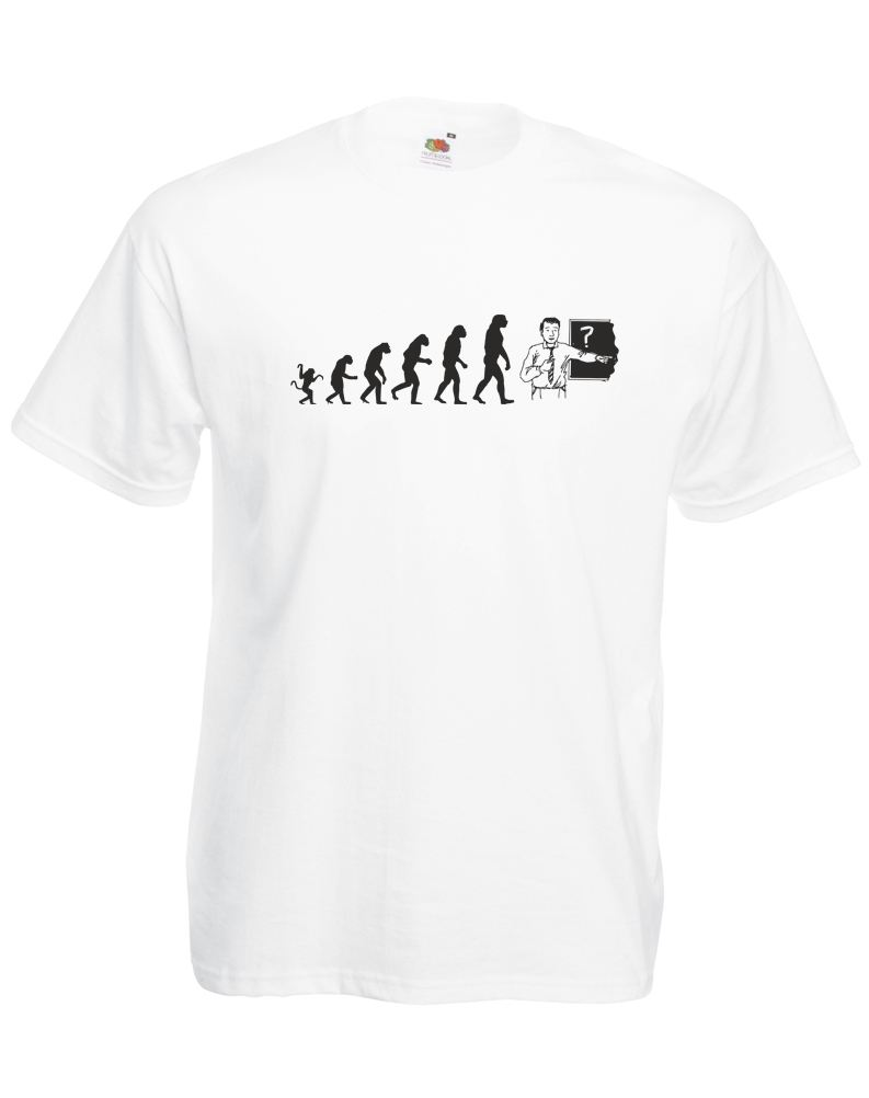 The evolution of a teacher Mens Printed T Shirt Funny Tops Tee New Unisex Funny High Quality Casual Printing free shipping in T Shirts from Men 39 s Clothing