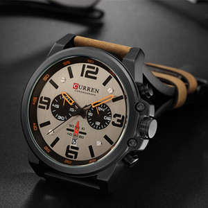 Image 2 - Newest 2018 Men Watches CURREN Top Brand Luxury Quartz Mens Wristwatches Leather Military Date Male Clock Relogio Masculino