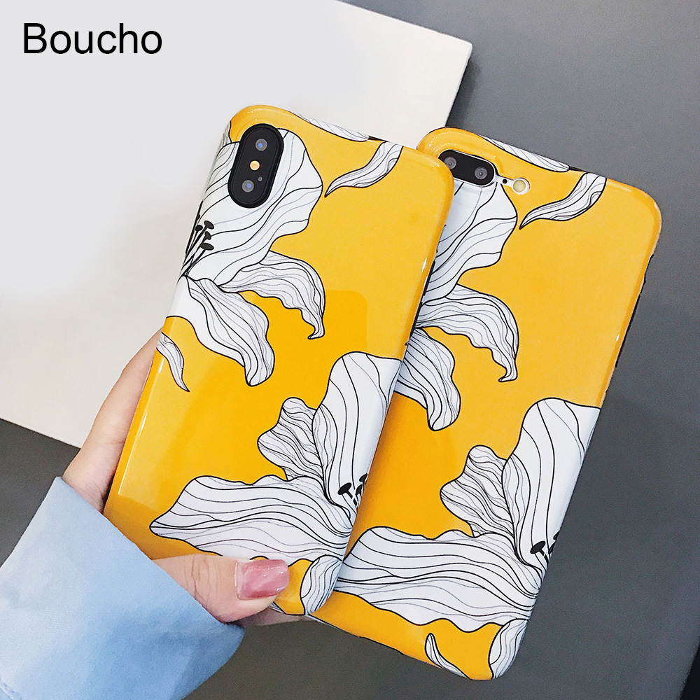 Boucho Cartoon Flower Petals Phone Case For iphone 8 6 6s X plus Cases For iphone 7 Soft Silicone Abstract Case Yellow Cover