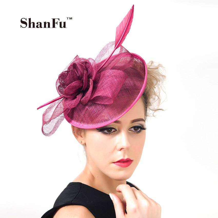 ShanFu 2018 Vintage Lady Sinamay Sagittate Feather Fascinátor Fuchsie Fascinátor Čelenka pro klobouky Církve strany C12341