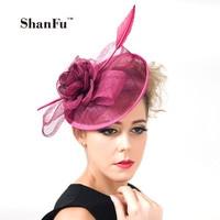ShanFu 2018 Vintage Lady Sinamay Sagittate Feather Fascinator Fuchsia Fascinator Headband for Party Church Hats C12341