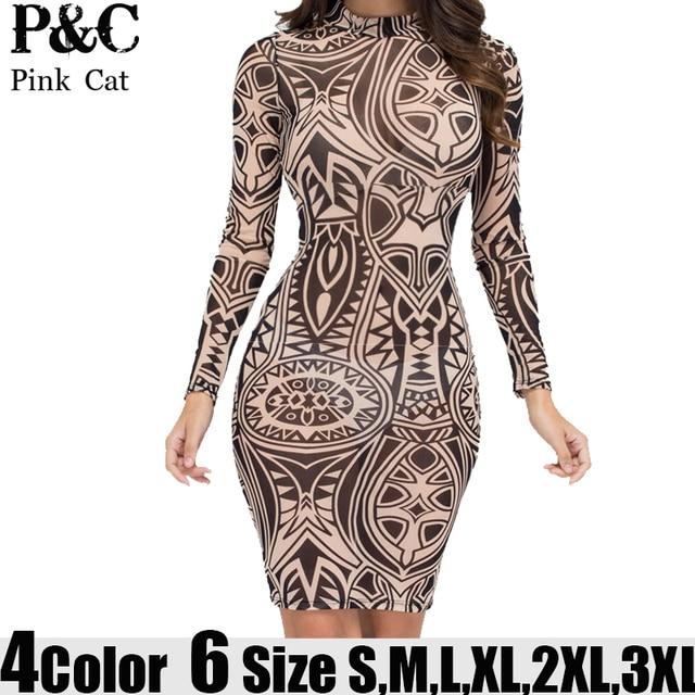 3309e029395 XXXL Plus Size Sexy Women Tribal Tattoo Print Mesh Bodycon Dress Summer  Women Long Sleeve Multi Color Geometric Curvy dresses