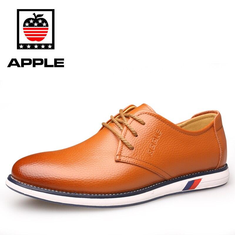 Prix pour Apple Printemps Automne Cuir Imperméable Supérieure Semelle En Caoutchouc MenSkateboard Chaussures Brun Dentelle Up Style Britannique Mâle Sneakers QT09P8615