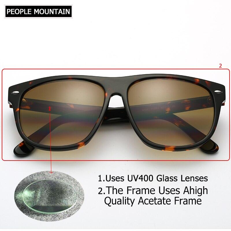 Vidrio marrón degradado lente cuadrado hombres gafas de sol de gran ...