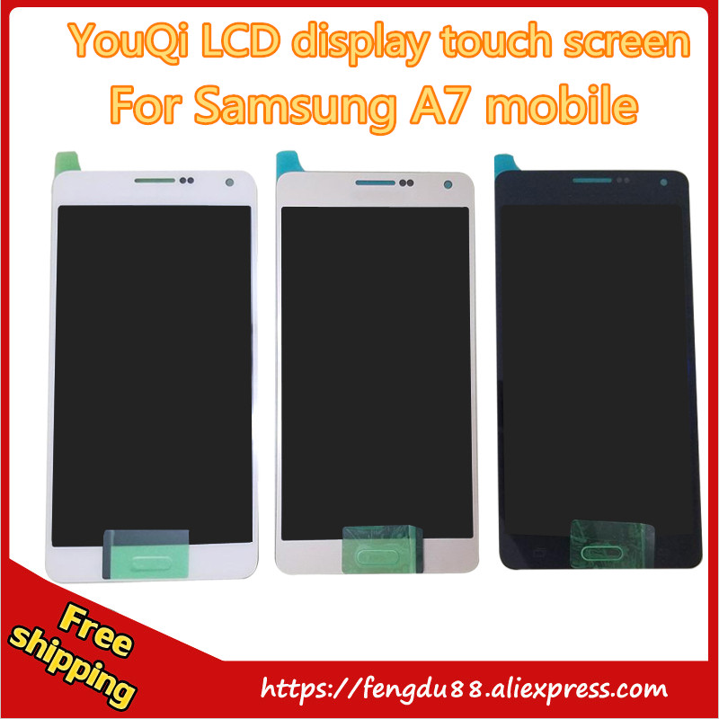 YouQi LCD Free Shipping + Tracking No. 100% Test Original For Samsung Galaxy A7 A7000 LCD Digitizer Assembly With Home Button