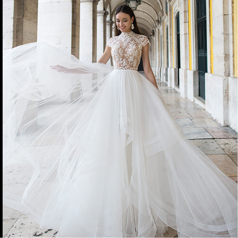 Cap Sleeves Boho Wedding Dress High Neck Bride Dresses Chiffon Vestido De Novia Top Appliqued Wedding Gowns Robe De Mariee 2019